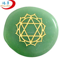 Hot sell engraved chakra natural green aventurine stones