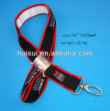 Black Silkscreen Satin Lanyard with Metal Buckle attachment and Swivel hook