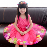 Korean vintage sleeveless children dress fancy flower princess wedding party girls dress