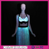 LED professional sexy long skirt belly dance with bra tops