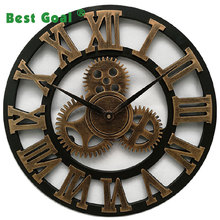 3D Retro Rustic Vintage Wooden DIA40cm Gear Wall Clock