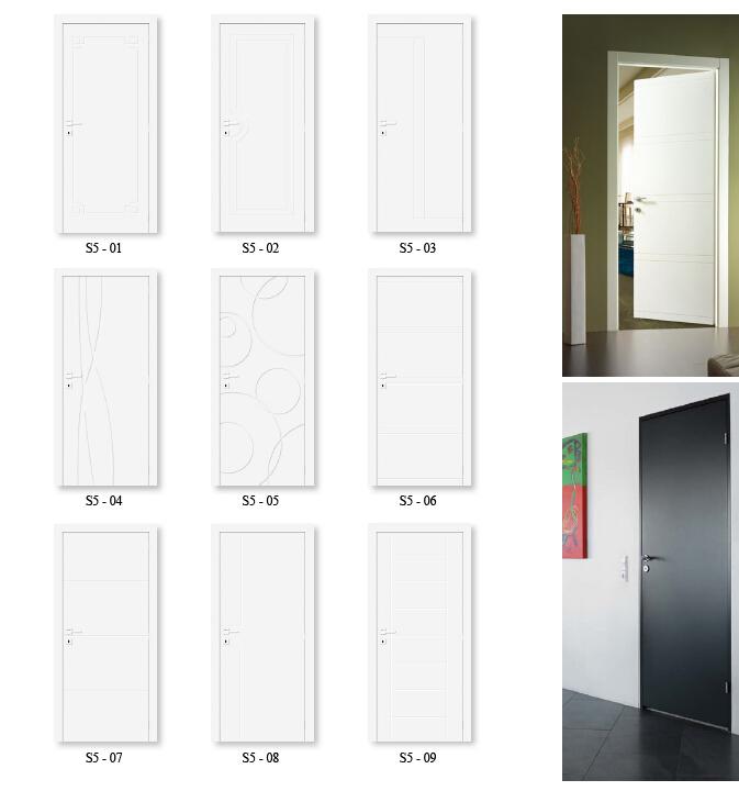 European style white modern design flush semi solid door for Solid flush door