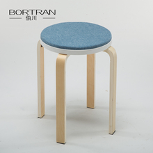 Anji Factory Price Chair Round Wooden Stool with Fabric Cushion Seat