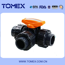 UPVC plastic 3 way industrial ball valve