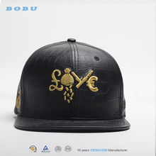 wholesale custom metal gold plate leather strap snapback blank hat