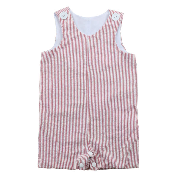 Wholesale 2016 red seersucker shortall with internal lining and snaps baby romper baby seersucker jon jons