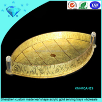 Shenzhen custom made leaf shape acrylic gold serving trays wholesale