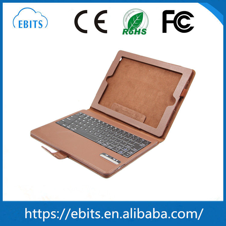 Top sale 9.7 inch tablet pc leather case bluetooth keyboard for iPad2/3/4