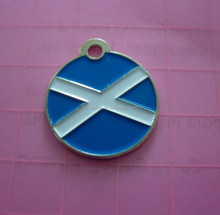 stamping customized Scottish cross flag pet id tags