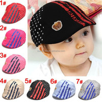 2015 Baby Boy Ball Cap Girls Baseball Hat Child Beret Sun Caps With Stripe And Rivets Infant Accessories KC81207-56