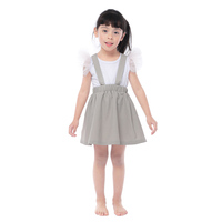 New style suspenders skirt with linen fabric wholesale grey girls skirt