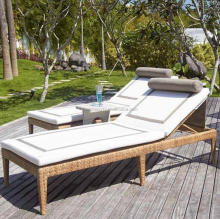 Modern rattan outdoor chaise lounge chair beach sun lounger pool sunbed