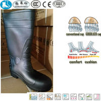 black pvc transparent rain working boot wholesale