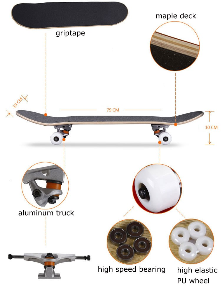 31 inch Canadian maple wood skate board best quality hot selling skateboard