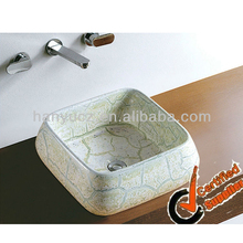HY5058D China sanitary ware square ceramic bathroom green sink