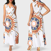 2018 African Fashion Designs Elegant Clothing Floral Print Pencil Long Maxi Dress
