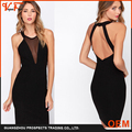 OEM dress factory custom fashion design black mesh backless O-neck Slim women dress for summer