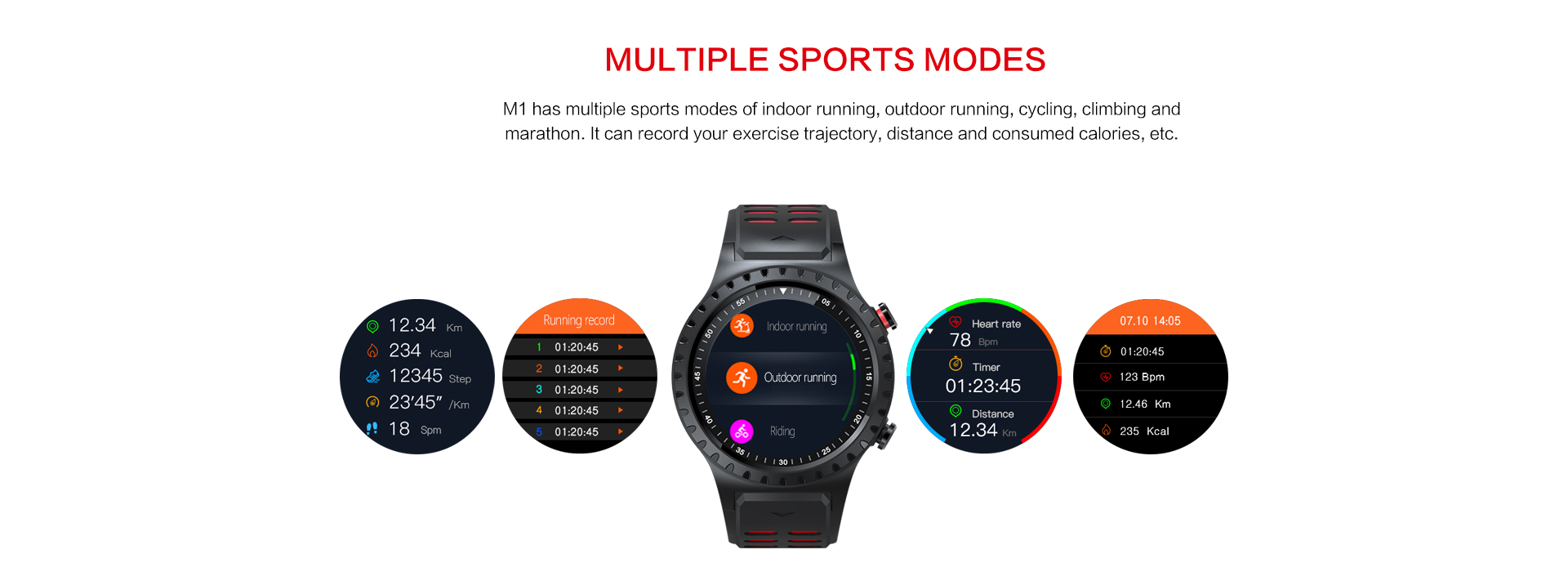 Hot Sale High Quality IP67 Waterproof smart watch with Buildt-in GPS,Compass,Barometer,Multi-sport,Dynamic heart rate,