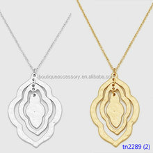 Hammered Metal Quatrefoil Pendant Delicate Necklaces