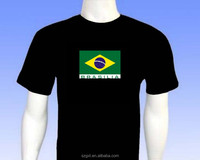 equalizer led t-shirt Brasilia sign design el sound actived t-shirt and inverter and high brightness
