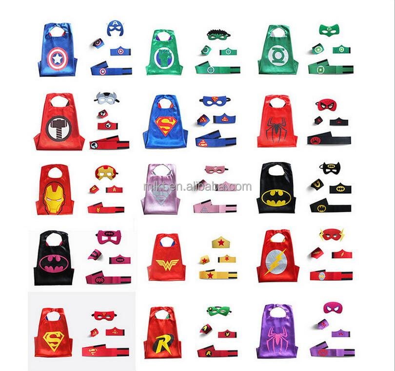 2017 Halloween party supplied cosplay kids super hero cape and mask