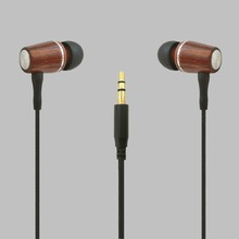 metal bass OEM premium wired wooden headphone in-ear earphone braided cable for portable player