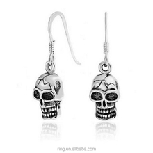 Hot Pirates of the Caribbean Jewelry Earrings Nautical Pirate Skull Wire Earrings 925 Sterling Silver Punk Earrings for Women