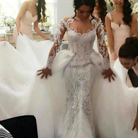 Wholesale Turkey Mermaid Removable Tulle Overskirt Fish Cut Design Wedding Dress Online