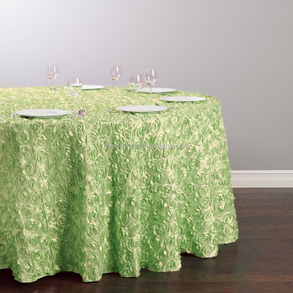 wholesale green Rosette Satin Table Cloth For Wedding