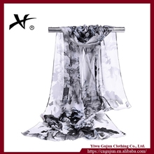 Fashionable lady design printed white silk scarves for dying