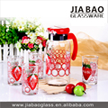 7pcs fruit juice drinking glass set, 1L Printing glass jug and tumblers