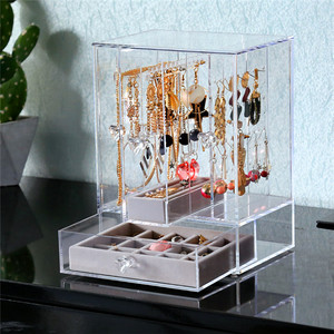 Crystal Clear Acrylic Fashion Earing Holder Jewelry Case Display 120 Pairse Earring Storage Box