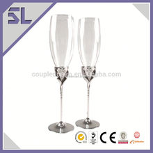 2016 Wholesale Wedding Decorations Birde And Groom Champagne Glass With Beaded Stem Champagne Flute Wine Glass