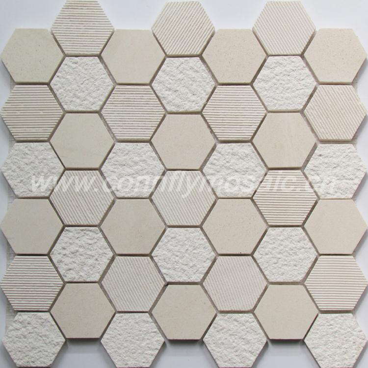 Hexagon natural marble wavy wall tile mosaic(CFS1046)