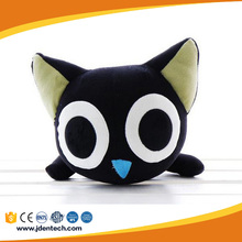 2017 new fashion black cat plush stuffed toy with big eyes