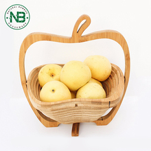 Collapsible Bamboo Apple Shaped cheap bamboo storage Fruit and Veggie Basket