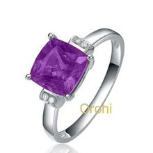 2016 purple gemstone casting stainless steel ring casting silver women ring pretty amethyst ring -HG368AM
