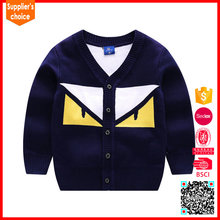 New design long sleeves jacquard knitted boy cardigan sweater