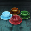 Hot sales 250ml colorful coffee cup plate set can pass FDA SGS test coffee tea porcelain ceramic cups saucers set