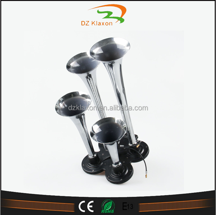 Triple Powerful Chrome 4 Pipe Air pressure Horn 12vfor Car Truck RV Train Boat Motorcycle