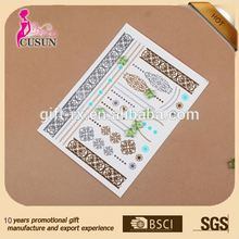 Skin jewelry, eco-friendly metallic temporary tattoo
