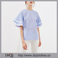 Latest Designs Wholesale Price Stylish ladies Casual Blue Polyester Striped Layered Bell Sleeve Contrast Trim Tied Back Blouse