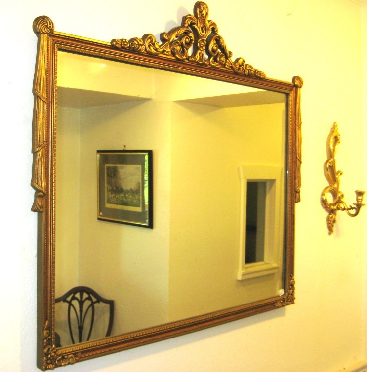Antique Mirror Gold Color Framed Draping Detail Mid Century Made in USA ONE OF A KIND