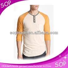 3/4 length sleeve cheap t shirts in Men's T-Shirts in bulk made in china