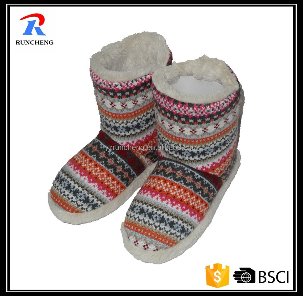 warm fashionable women walking knitted indoor boots