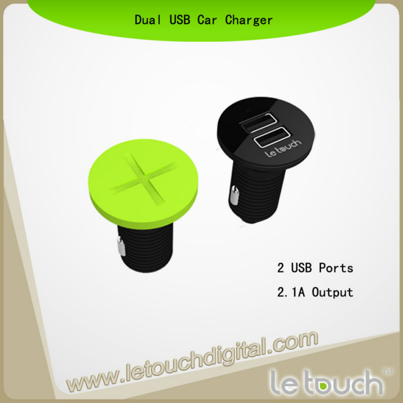 Letouch Dual USB Car Charger CE ROHS 12V Cigarette Charger