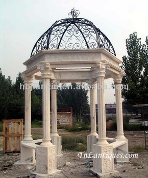 big marble gazebo with statue