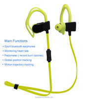 Shenzhen smart wearing headphones monitoring heart rate + pedometer + position tracking bluetooth earphone V4.0