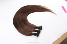popular Gray I-tip hair extension, brown flat type extension hair,flat-tip stick human hair extension
