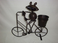 Antique metal animals bicycle plant pot garden ornaments